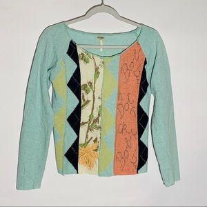 Free People boatneck mixed pattern sweater, size M